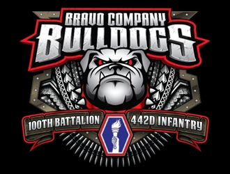 Bravo Bulldogs 100th Battalion 442D Infantry  logo design