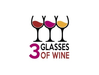 3 Glasses of Wine logo design