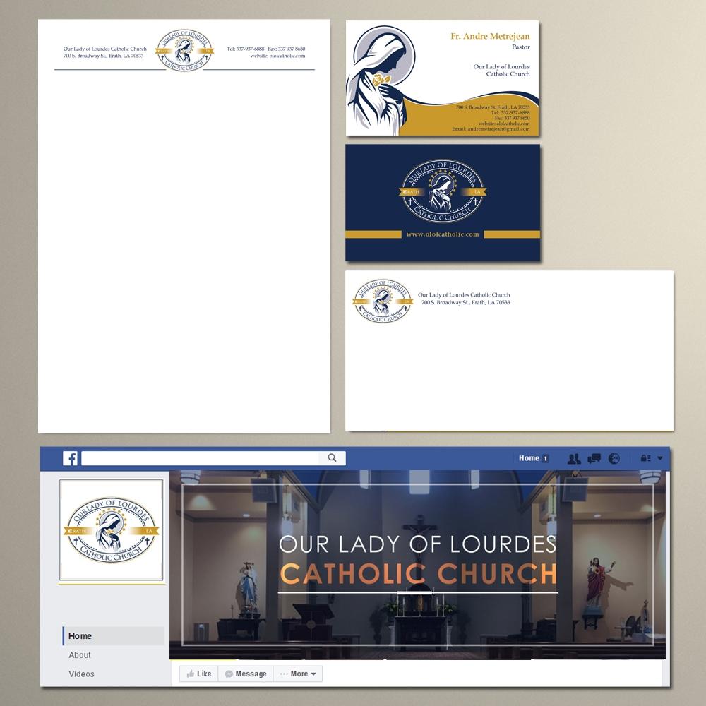 Our Lady of Lourdes Catholic Church logo design