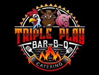 Triple Play Bar-B-Q logo design