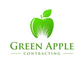 Green Apple Contracting  logo design