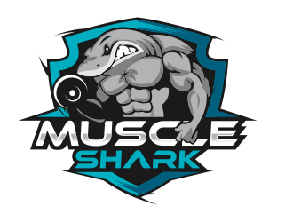 muscle shark logo design concepts 69