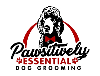 Pawsitively Essential Dog Grooming logo design