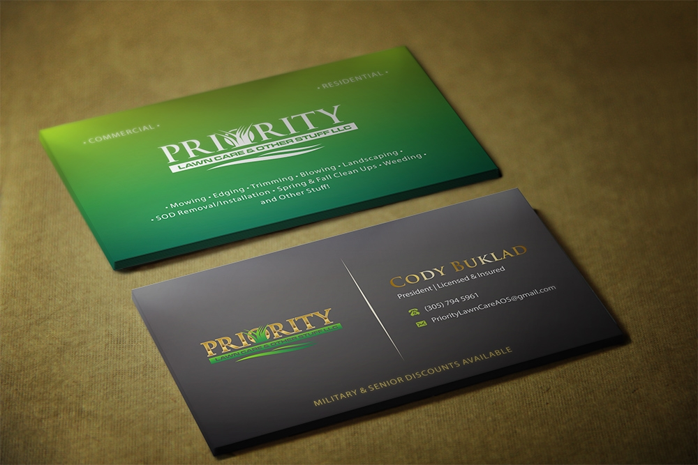 Priority Lawn Care & Other Stuff LLC logo design