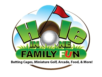 Hole In One Family Fun - Batting Cages, Miniature Golf, Arcade, Food, & More!  logo design