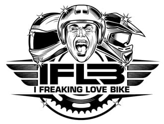 I Freaking Love Bikes  IFLB for short logo design