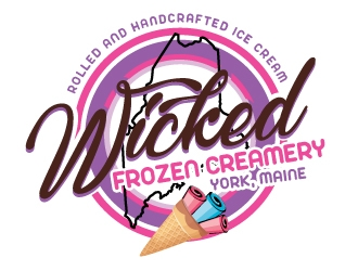 Wicked Frozen Creamery logo design