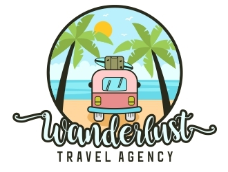 Wanderlust Travel Agency logo design