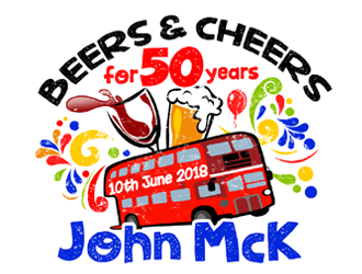 Beers and Cheersa for 50 Years John McK 10th June 2018 logo design