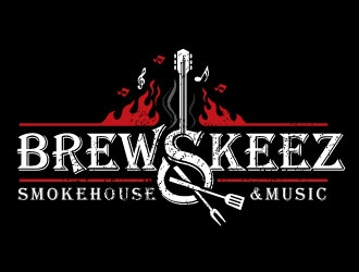 Brewskeez Smokehouse & Music logo design