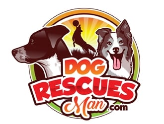 Dog Rescues Man  logo design