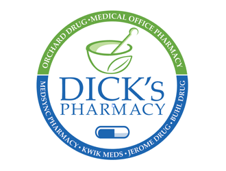 Dicks Pharmacy, Orchard Drug, Medical Office Pharmacy, Medsync Pharmacy, Kwik Meds, Jerome Drug, Buhl Drug. logo design