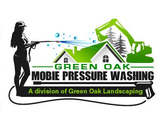 Green Oak Mobie Pressure Washing   A division of  Green Oak Landscaping logo design