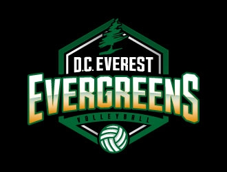 DC Everest Volleyball logo design