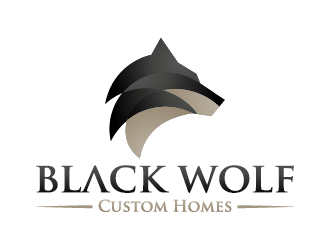 Black Wolf Custom Homes logo design