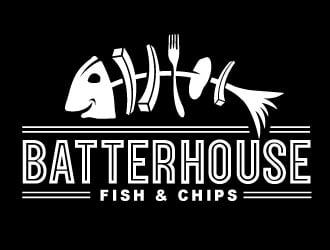 BatterHouse fish & chips logo design