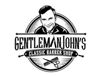 Gentleman John's Classic Barber Shop logo design