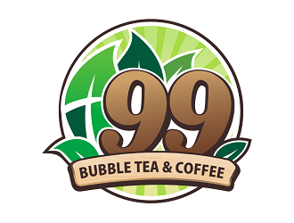 Leaves the 99 bubble tea & coffee logo design