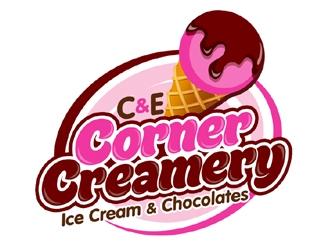 C & E Corner Creamery logo design
