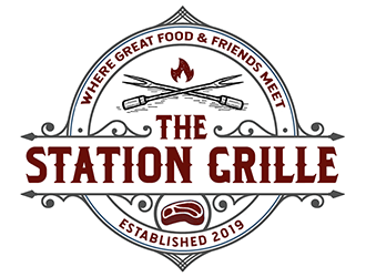 The Station Grille.  Where great food & friends meet logo design