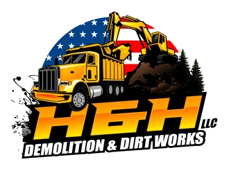 H&H Demolition & Dirt Works LLC logo design