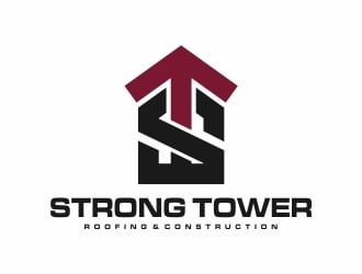 Strong Tower Roofing & Construction logo design