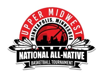 Upper Midwest All-Native National Basketball Tournament logo design