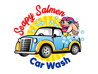 Soapy Salmon Car Wash logo design