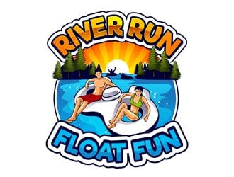 River Run Float Fun logo design