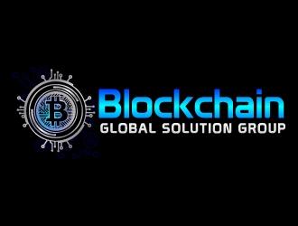 blockchain global solution group logo design