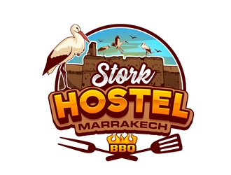 Stork Hostel Marrakech logo design