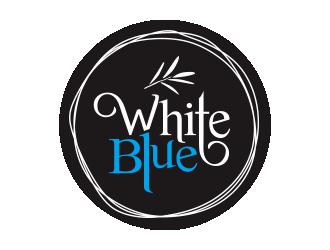 white blue logo design