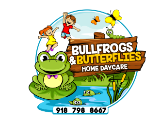 Bullfrogs & Butterflies Home Daycare logo design