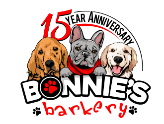 Bonnies Barkery 15 Year Anniversary logo design
