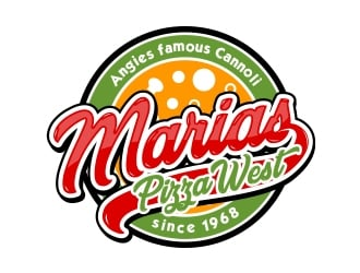 marias pizza west logo design