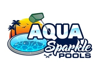 Aqua Sparkle Pools logo design