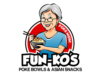 FUN-KOS Poke Bowls & Asian Snacks logo design
