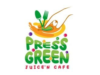 Press Green (JuiceN Cafe) logo design