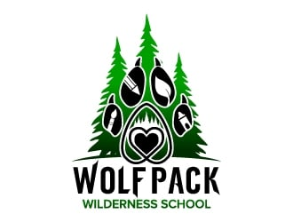 Wolf Pack Wilderness School logo design