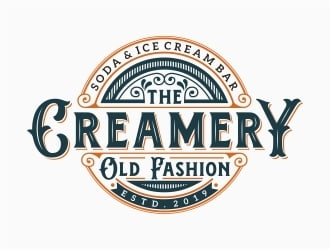 The Creamery Old Fashion Soda & Ice Cream Bar logo design