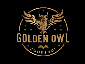 Golden Owl Bookshop  logo design