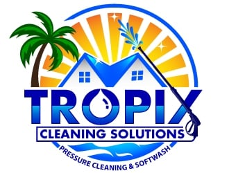 Tropix Cleaning Solutions logo design