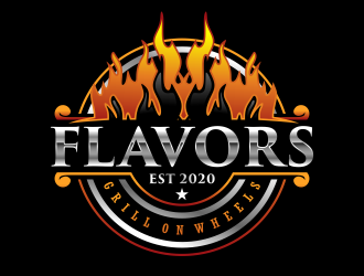 FLAVORS grill on wheels logo design