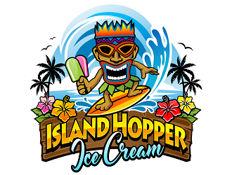 Island Hopper Ice Cream logo design