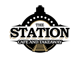 The station  cafe and takeaway logo design