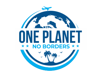 One Planet No Borders logo design by Girly