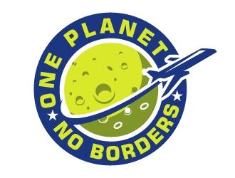 One Planet No Borders logo design by Bambhole
