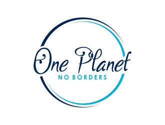 One Planet No Borders logo design by giphone
