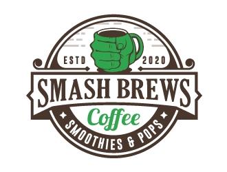 SMASHBREWS Coffee, Smoothies & Pops logo design