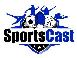 SportsCast logo design by AamirKhan